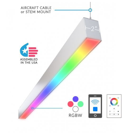 Alcon Lighting 12100-23-RGBW-P Color Changing Continuum 23 Series Architectural LED Linear Pendant Direct Light Fixture