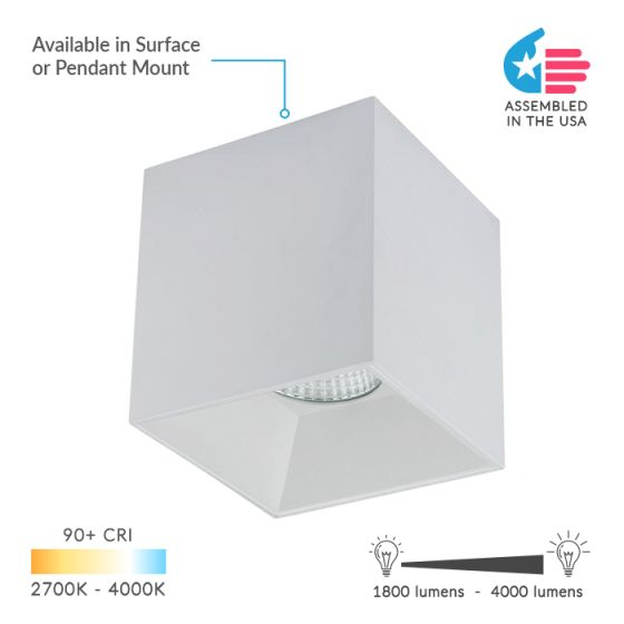 Alcon Lighting 11212 LED 6 Inch Surface or Suspended Mount Cube Light Fixture - Downlight