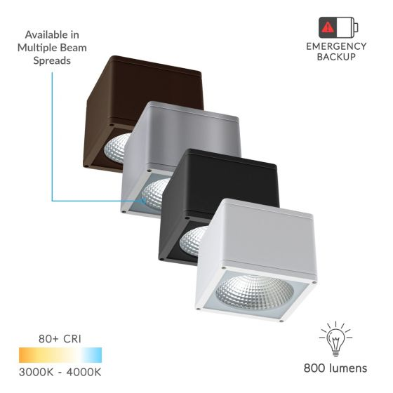Alcon Lighting 11224-DIR Pavo Architectural LED 6 Inch Square Surface Ceiling Mount Direct Down Light Fixture | IP65
