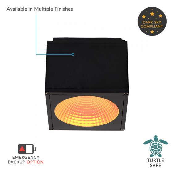 Alcon Lighting 11224-TF-S Pavo Turtle Friendly Dark Sky Architectural Amber LED 6 Inch Square Surface Ceiling Mount Direct Down Light Fixture