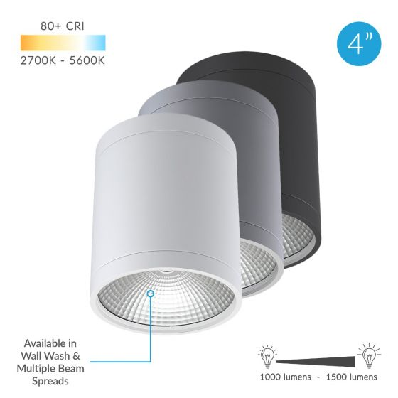 Alcon Lighting 11235-DIR Pavo Architectural LED 4 Inch Round Cylinder Surface Ceiling Mount Direct Down Light Fixture