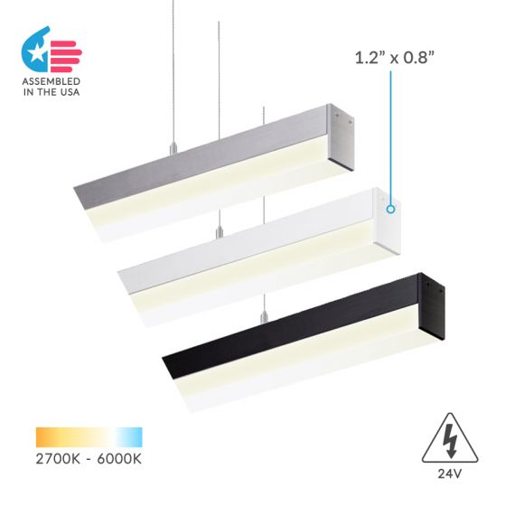 Alcon Lighting 12100-8-P Slim Continuum 8 Series Architectural LED Linear Pendant Direct Down Light Fixture