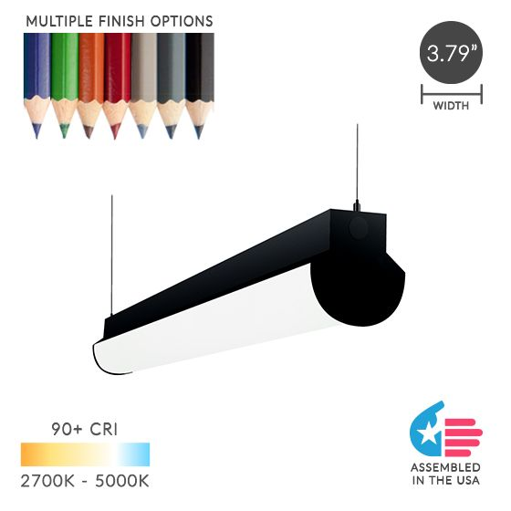 Alcon Lighting 12122 Lombardy Industrial Series Commercial LED Linear Suspension Pendant Direct Down Light Strip