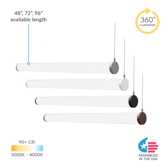 Alcon 12143-HR Tube Stick LED Horizontal LED Pendant Light