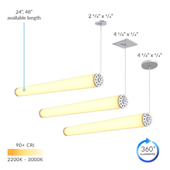 Alcon Lighting 12168-1-H Cosma Architectural LED Long Horizontal Cylinder Tube Commercial Pendant Light Fixture
