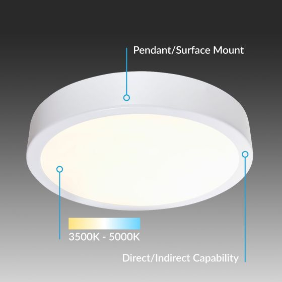 Alcon Lighting 12201-QS Skyline Architectural LED Round Direct/Indirect Light Fixture - 2 Foot