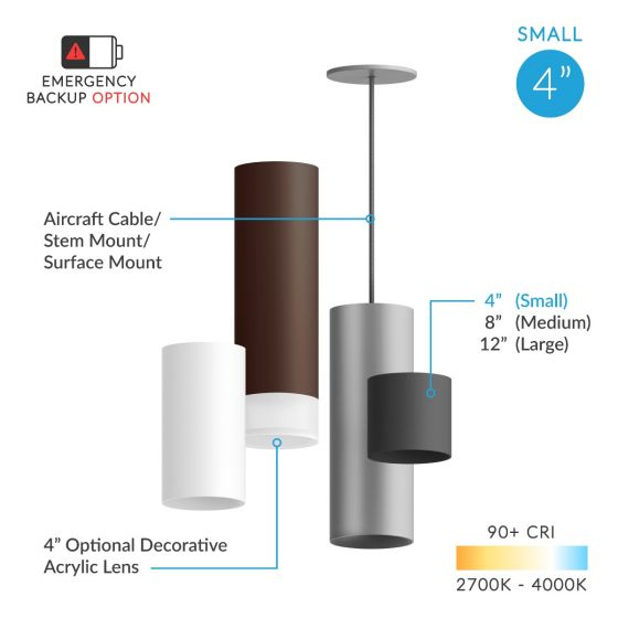 Alcon Lighting 12302-4 Cilindro Architectural LED Small Modern Cylinder Direct Light Fixture