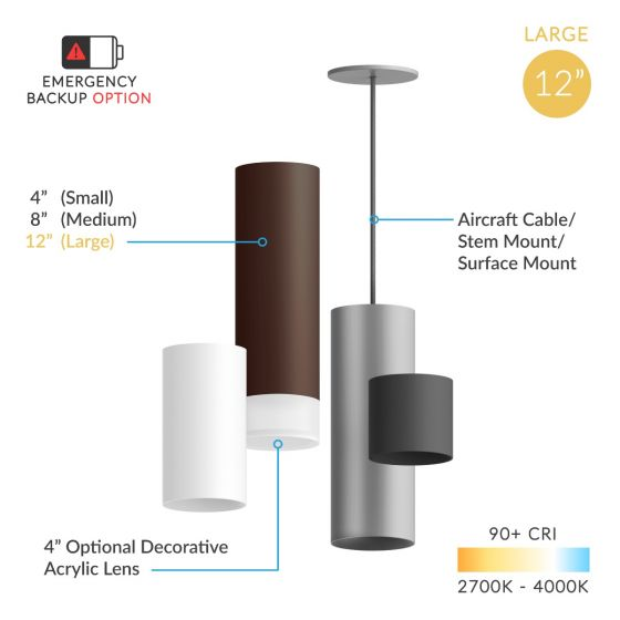 Alcon Lighting 12302-12 Cilindro Architectural LED Large Modern Cylinder Direct Light Fixture