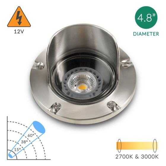 Alcon Lighting Riley 9027-SS Architectural Marine Grade Low Voltage In-Ground LED Well Light Corrosion Resistant Stainless Steel