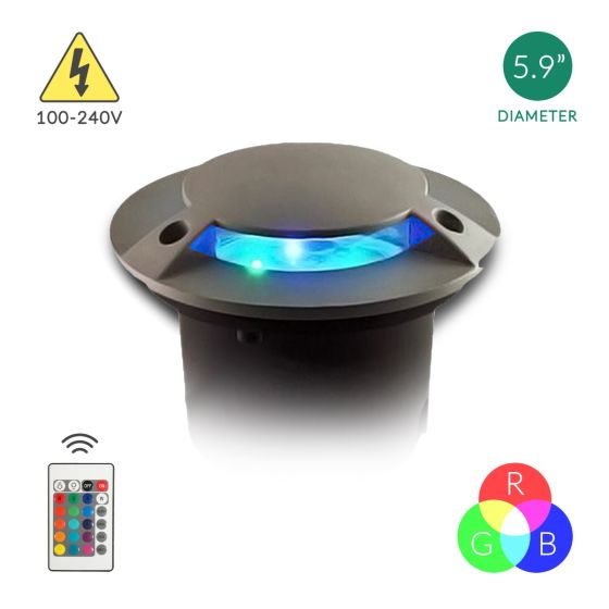 Alcon Lighting Mia 9032 Aluminum Outdoor LED 6W Remote Controlled RGB Color Changing Well Light