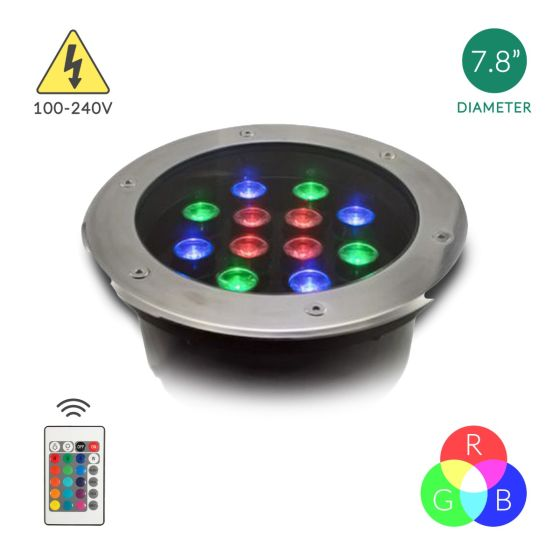 Alcon Lighting Victoria 9035 Aluminum Outdoor LED 12W Remote Controlled RGB Color Changing Well Light