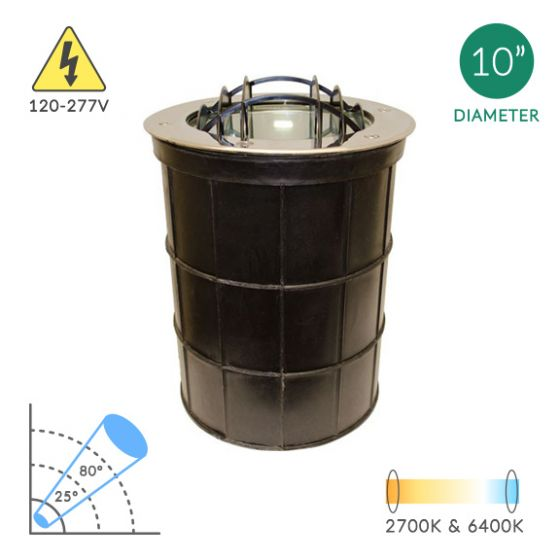 Alcon Lighting 9095 Canna Architectural Landscape LED 10 Inch In-Ground Stainless Steel Well Light with Grill - 120V~277V