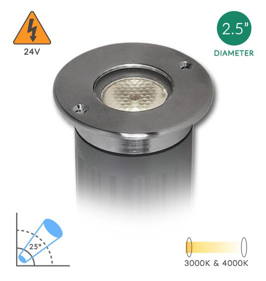 Alcon Lighting 9115-R Round Architectural Landscape LED Low Voltage Stainless Steel In Ground Well Light