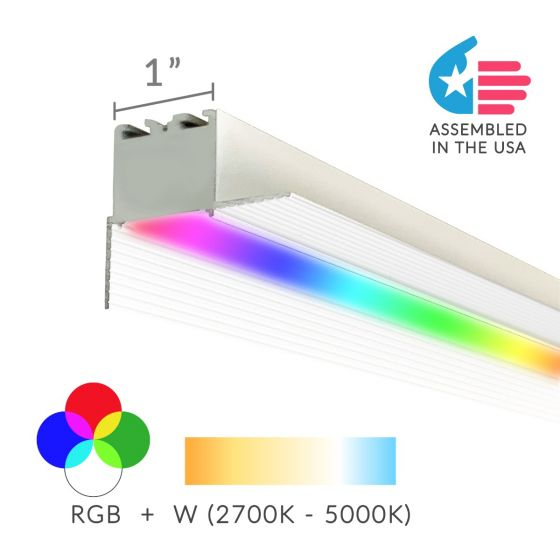 Alcon Lighting 12100-10-RGBW-PR Continuum 10 Architectural 1 Inch Trimless Linear Recessed LED Color Changing Perimeter Light Strip