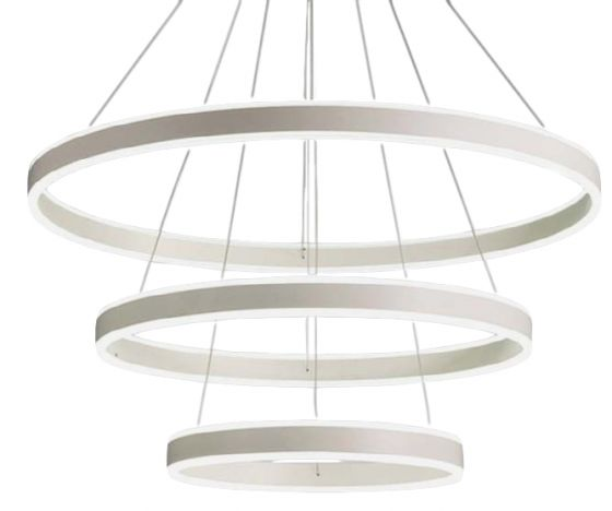Alcon Lighting 12270-3 Redondo Suspended Architectural LED 3 Tier Ring Direct Indirect Chandelier Light