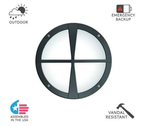 Alcon Lighting 11231-D Optic 10 Inch Round Decorative Crossbar Face Guard Architectural LED Wallpack Outdoor Vandal Proof Luminaire