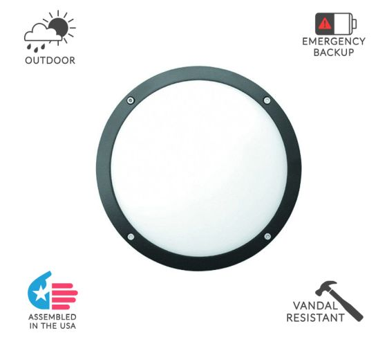 Alcon Lighting 11231-O Optic 10 Inch Round Open Face Guard Architectural LED Wallpack Outdoor Vandal Proof Luminaire
