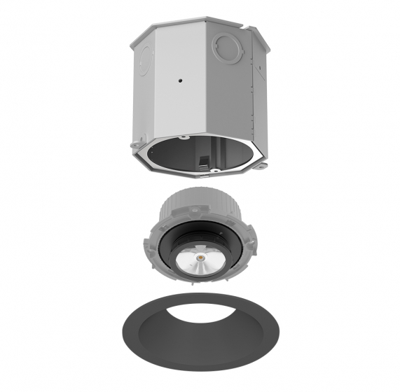 Image 1 of Alcon 14105-4-ADJ Recessed Round 4-Inch Adjustable Concrete Ceiling LED Light