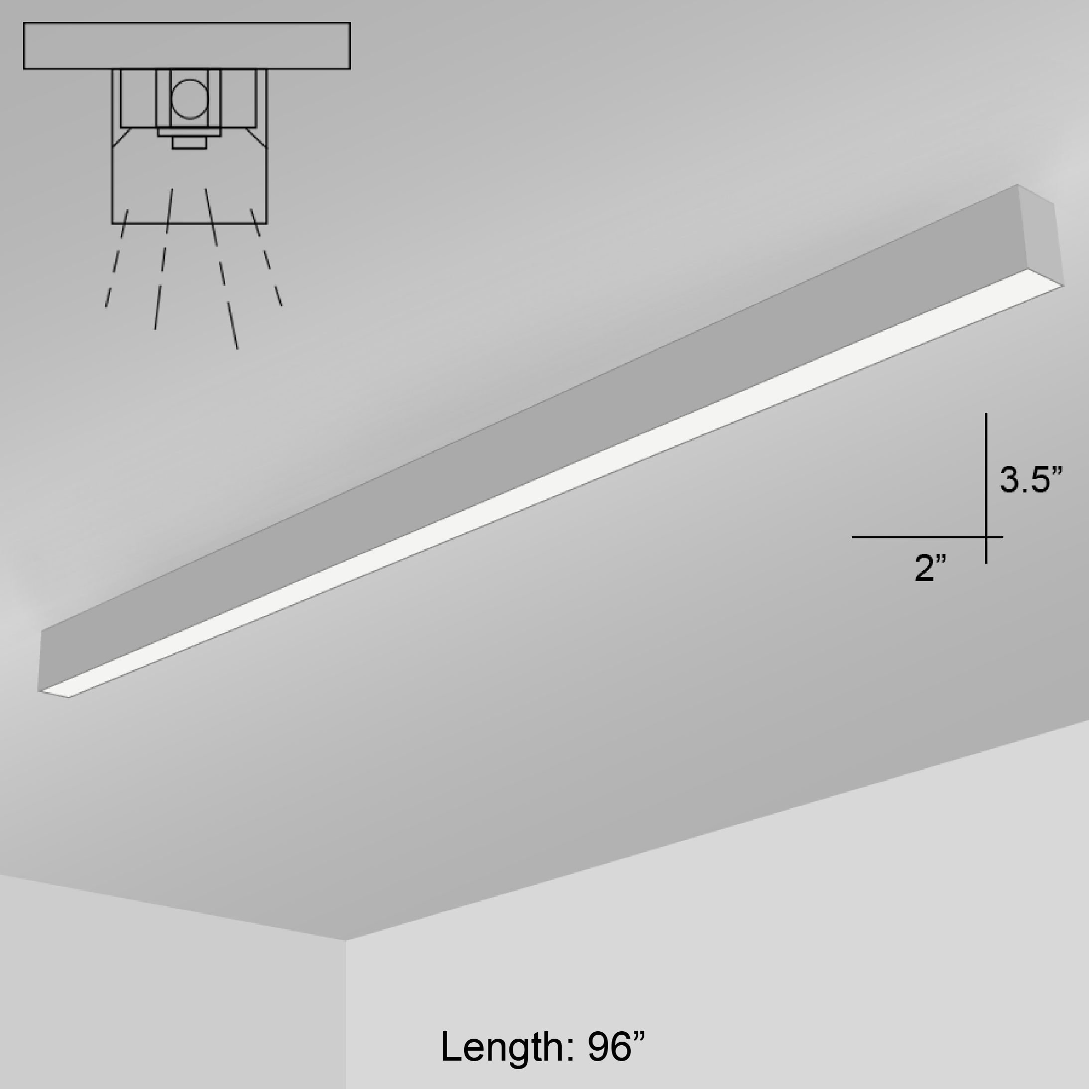 Led 8 foot linear surface mount double tap to zoom