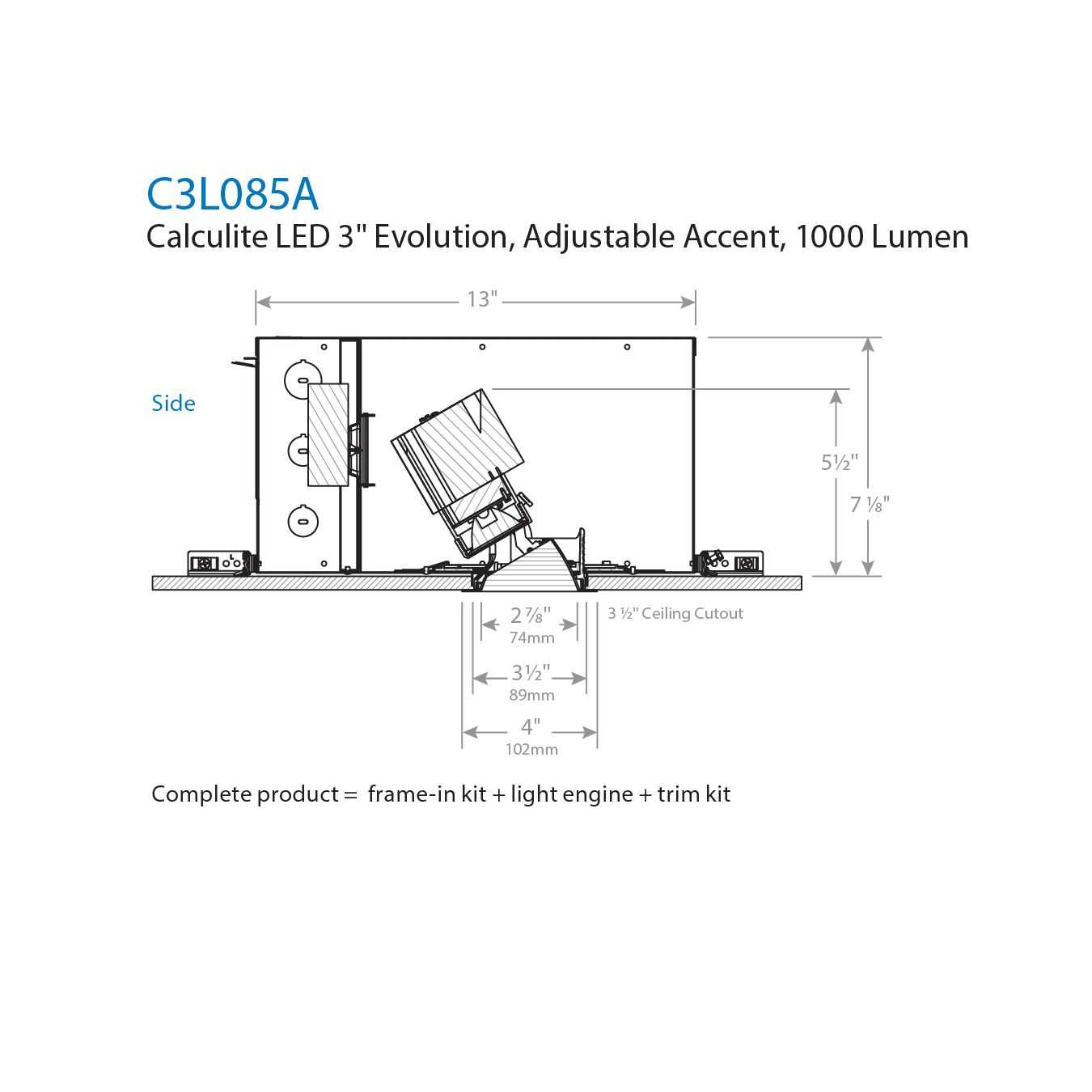 Lightolier Dimmer Wiring Diagram 1000 Automotive Chandelier C3l085a Calculite Led 3 Evolution Adjustable Accent Rh Alconlighting Com Light Switch