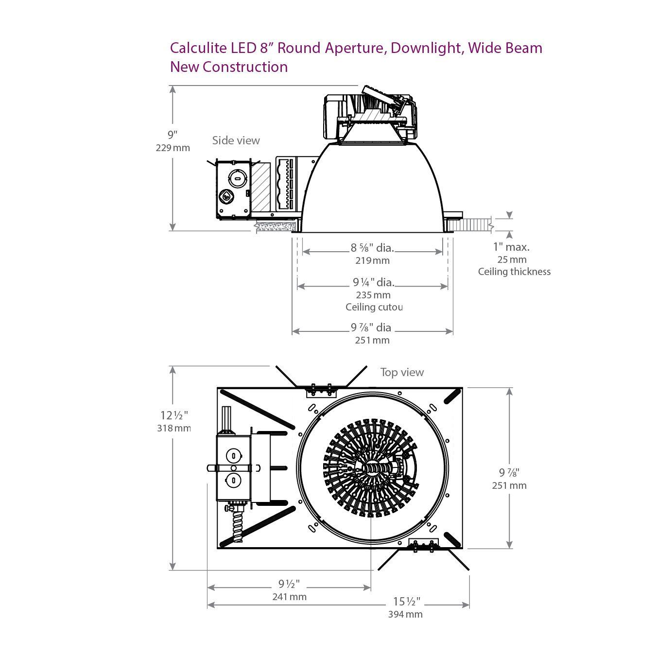 lightolier c8l35n calculite led 8 u0026quot  round aperture wide beam 3500 lumen downlight