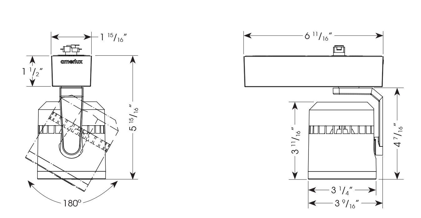 Amerlux C3MH Cylindrix® III Mini Horizontal C3MH 21W LED Track Light  Fixture - Ideal for