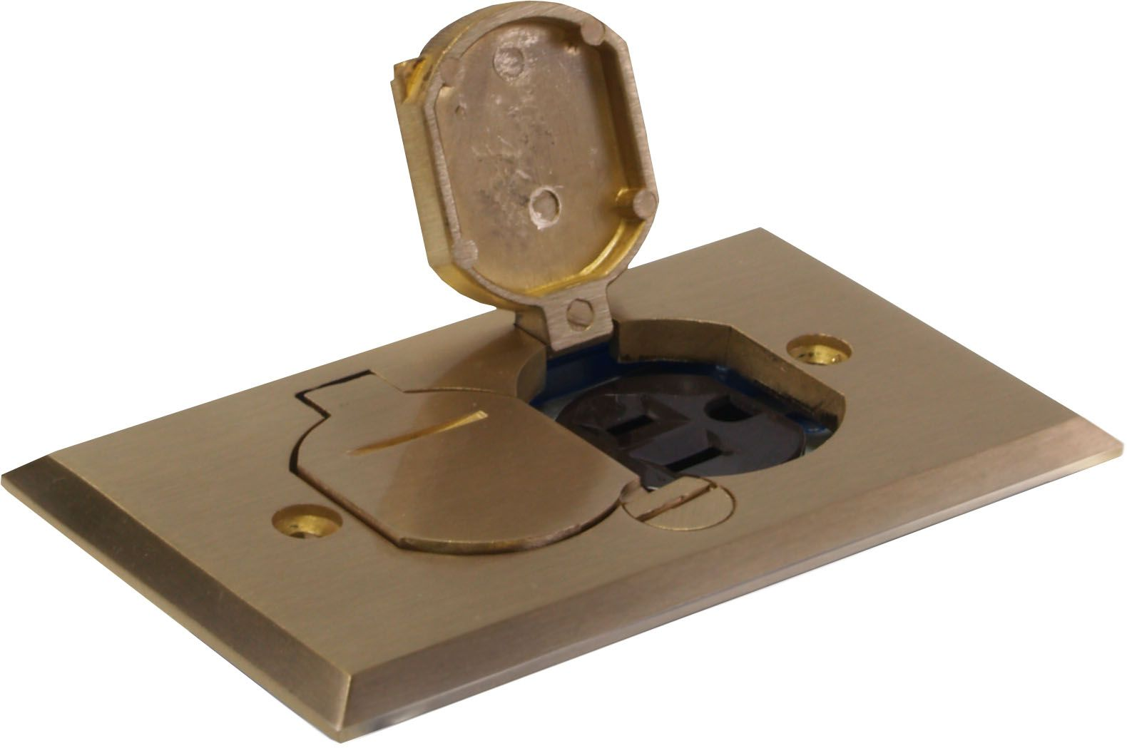 Orbit Brass Industrial Floor Box With Duplex Receptacle Cover And