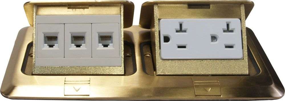 Orbit Brass Industrial Floor Box Pop Up With Duplex Receptacle And