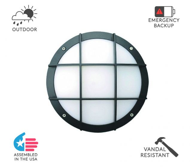Alcon Lighting 11231-C Optic 10 Inch Round Cross Face Guard Architectural LED Wallpack Outdoor Vandal Proof Luminaire