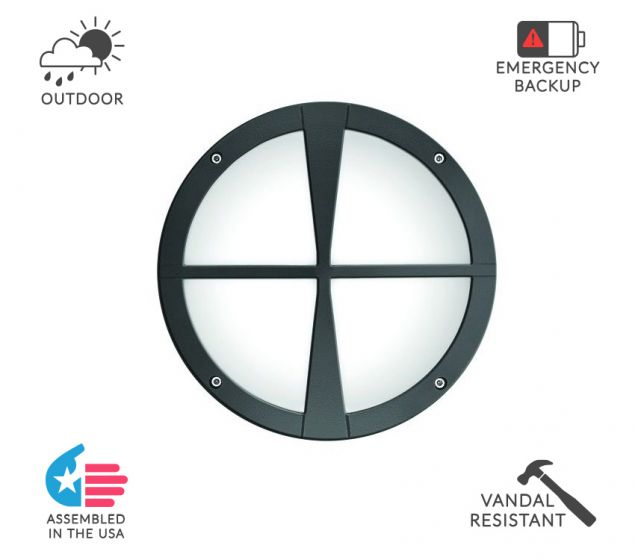 Image 1 of Alcon Lighting 11231-D Optic 10 Inch Round Decorative Crossbar Face Guard Architectural LED Wallpack Outdoor Vandal Proof Luminaire
