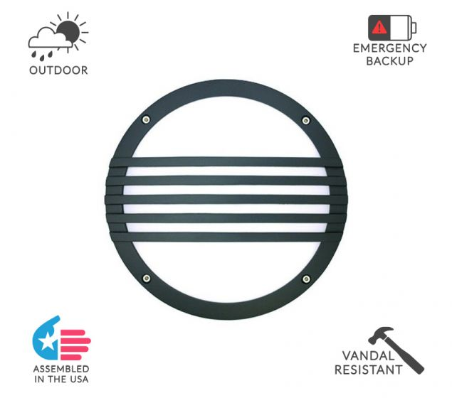 Alcon Lighting 11231-S Optic 10 Inch Round Striped Face Guard Architectural LED Wallpack Outdoor Vandal Proof Luminaire