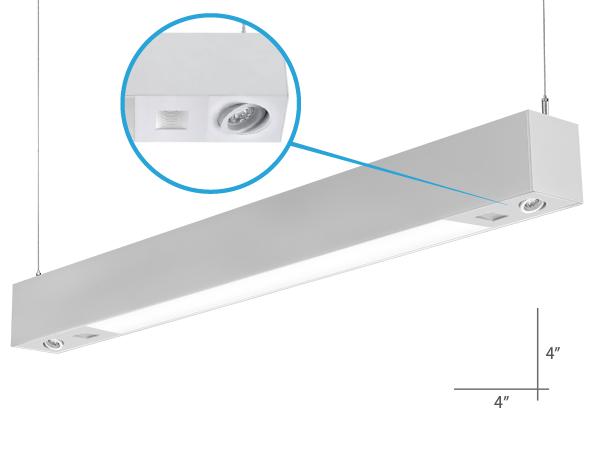Alcon Lighting 12000-4-4F Tesla Quadro Architectural LED 4 Foot Linear Suspension Lighting Pendant Mount Direct/Indirect Luminaire