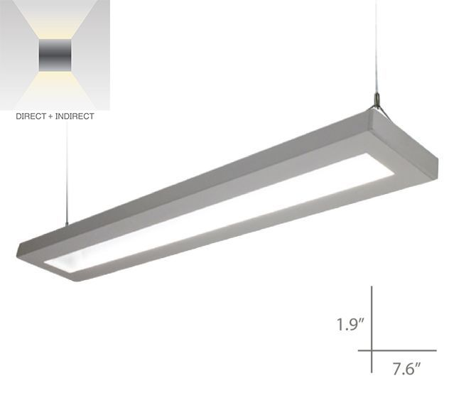 Alcon Lighting 12113-D-8 NLP Architectural LED Linear Suspended Pendant Mount Direct/Indirect Light Fixture - 8 Foot