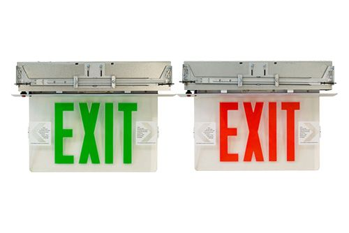 Image 1 of Alcon 16116 Single Sided Edge Lit Recessed LED Exit Sign