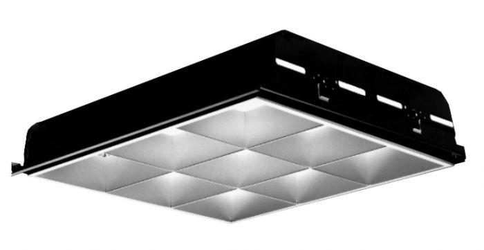 Lightolier Deepcel Plus 2' x 2' Recessed Flourescent 9 Cell Parabolic Louver T8 6 Inch U-Lamp