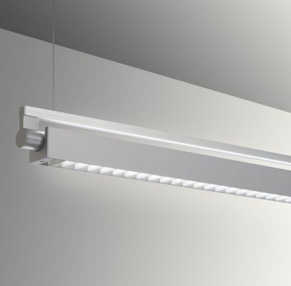 Image 1 of Gladstone Adjustable Architectural LED Strip Light Pendant - Louvered Direct/Indirect