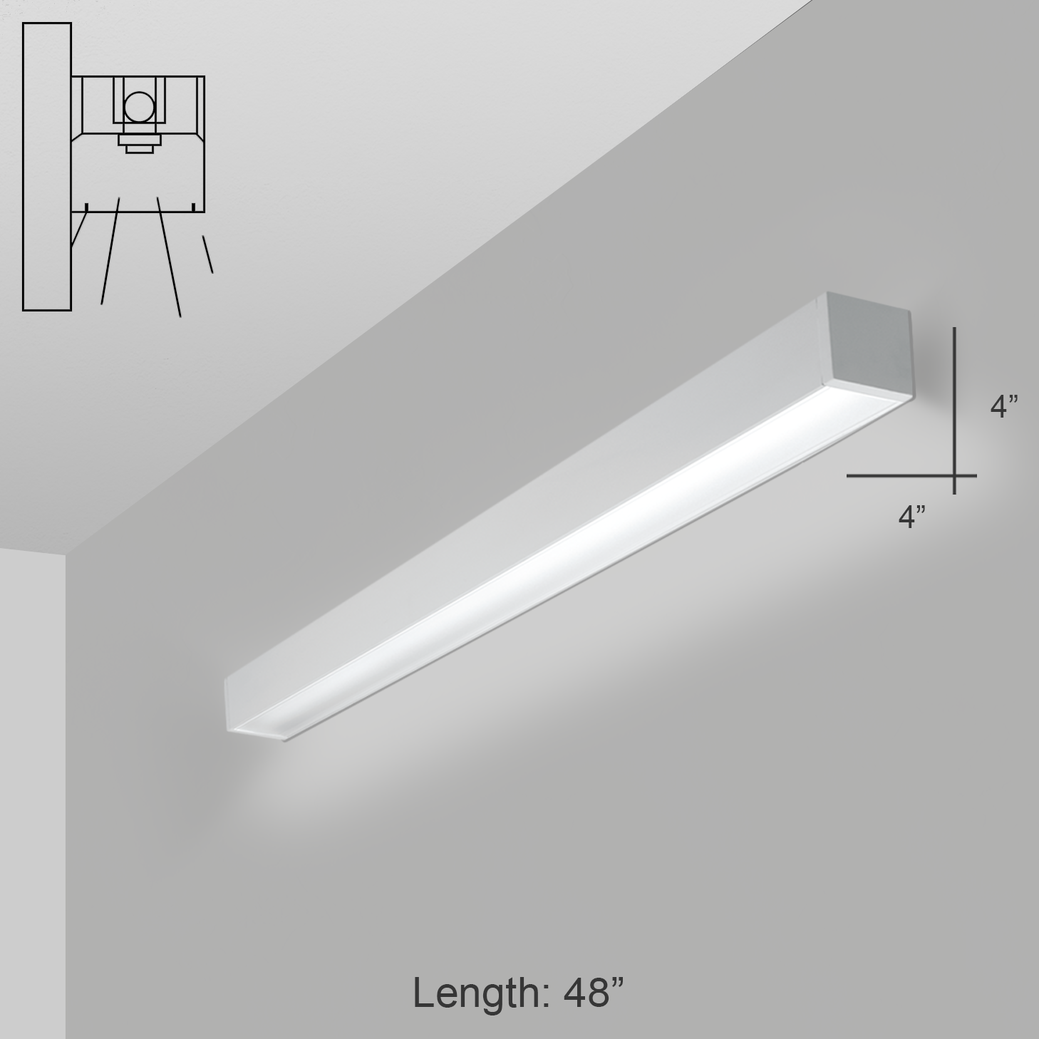 Alcon Lighting 11141-4-W i44 Series Architectural LED 4 Foot ... for Wall Foot Light  155fiz