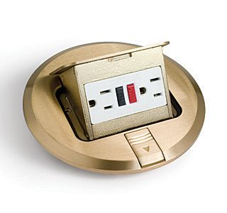 Lew Electric PUFP-B 6 Inch Brass Pop Up Floor Plate with 15 Amp (TR) GFI Receptacle