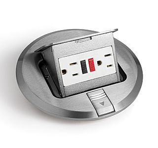 Lew Electric PUFP-S 6 Inch Stainless Steel Pop Up Floor Plate with 15 Amp (TR) GFI Receptacle
