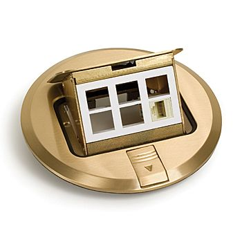 Lew Electric PUFP-BC 6 Inch Brass Pop Up Floor Plate with 6-Communication Data Ports
