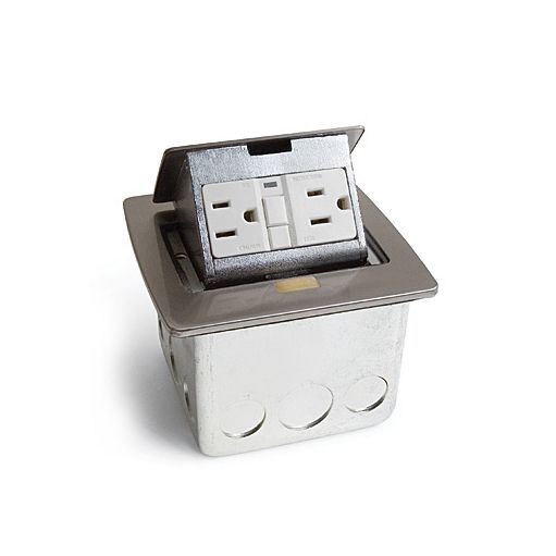 Lew Electric PUFP-CT-SS Pop-out Counter Top Plate with a 20 Amp GFI Receptacle (Includes Mounting Box)
