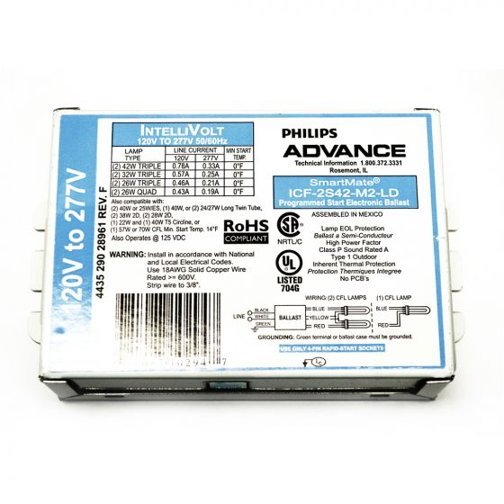 Philips Advance ICF-2S42-M2-LD SmartMate Advance IntelliVolt Ballast 120-277 Volts