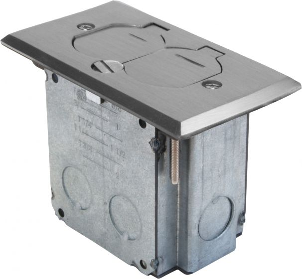 Orbit Stainless Steel Industrial Floor Box Pop-up with Duplex Receptacle Cover  and Adjustable Box