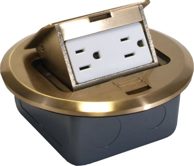 Orbit Brass Industrial Floor Box Pop-up with Duplex Receptacle